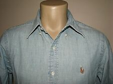 Homme (XL) Polo-Ralph Lauren Bleu Chambray   Jeans Queue de Cheval Chemise 649b7d950ec