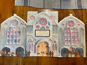 Vintage Mid-Century Hallmark Foldout Advent Calendar, Beautiful Church, Stained