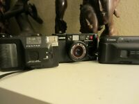 Canon Auto Focus F 35M film camera/ Pentax Pino black/ Canon Snappy EZ for parts