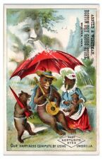 Dressed Bear Family Stay Dry under Neptunite Umbrella Victorian Trade Card