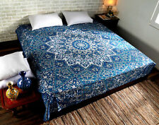 Mandala Multi Blue Round Print Tapestry Wall Hanging Decor Queen-Size Bedspread