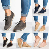 Women Casual Wing Tip Brogues Oxfords Stitched Lace up Flats Shoes Sneakers
