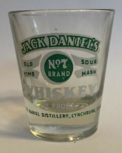JACK DANIELS GREEN AND WHITE 90 PROOF SHOT GLASS