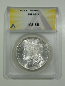 1881 S Morgan Silver Dollar ANACS MS65 Blast White GEM Great Luster