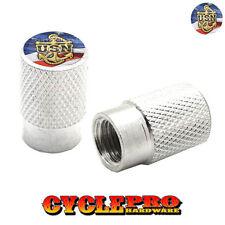 2 Silver Billet Knurled Tire Valve Cap Motorcycle - USN NAVY ANCHOR USA - 069