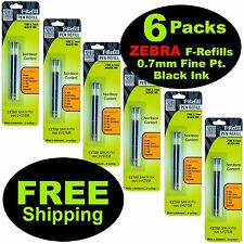 6 Packs 85512, Zebra F-Refills For F-301 Series, F-402, F-701, 0.7mm Black Ink