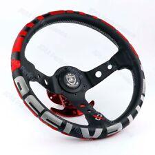 13''Deep Dish Racing Car Drift Rally Tuning Steering Wheel with Red Vertex Logo