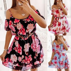 Womens Ruffled Cold Shoulder Floral Boho Mini Dress Ladies Summer Beach Sundress