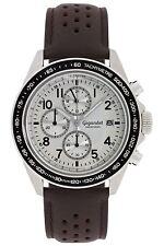 Gigandet Racetrack Herrenuhr Chronograph Datum Lederarmband Braun Silber G24-008