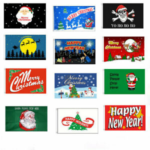 CHRISTMAS FLAGS Merry Xmas Happy New Year Party Holidays Santa Stop Here Flag