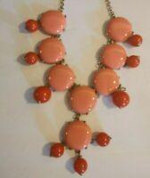 Vintage J Crew Statement Necklace Designer Signed Jewelry Orange Coral Gold Tone