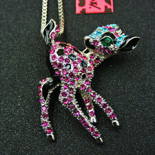 New Pink Enamel Rhinestone Deer Crystal Pendant Betsey Johnson Necklace/Brooch