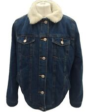 Atmosphere Borg Fleece Lined Denim Coat Jacket 14 Pockets