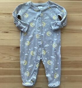 HANNA ANDERSSON Gray Moon & Stars Footed Romper Size 60 3-6 Months EUC