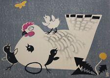 TOMIKICHIRO TOKURIKI-Japanese Modernist-Hand Signed LIM.ED Woodblock-Hen/Chicks
