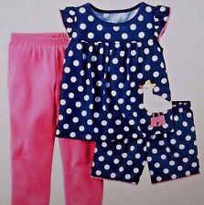 Carter's NWT Kid Girl 10  3pc Jersey Pajama PJ Set Bird Polka Dot