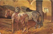 360018) nette Tier Ak mit Pferden im Stall gelaufen 1916