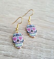 Gold Plated Earrings Sugar Skull Day of the Dead Mexican Dangly Goth Gothic