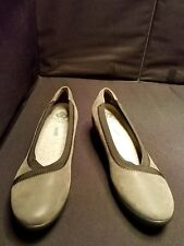 NWOB~ Clarks 6M GRAY Cloud Steppers Caddell Dash Slip on Wedge Shoe Pumps