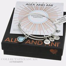 Authentic Alex and Ani Teardrop March Birthstone Rafaelian Silver Bangle