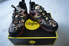 Buffalo Classic Low Sneakers IMI leather animal mix Trainers Shoes, size UK4