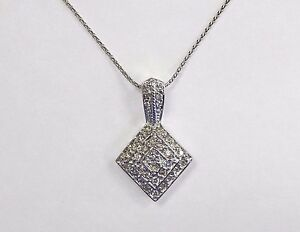 "NWT New With Tags .25ct Diamond 14K White Gold Geometric Pendant 20"" Wheat Chain"