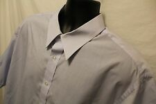 Mens Purtain Cotton Blend Light Blue Wrinkle Free Dress Shirt 18 1/2 Big S/S