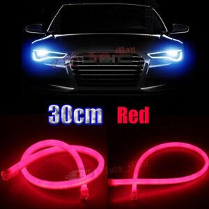 2x 30cm Red Tube Flexible LED Strip Car Motor Headlight Daytime Runnin Light DRL