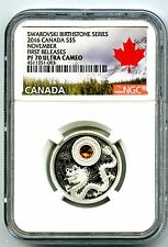 2016 CANADA $5 SILVER PROOF NGC PF70 NOVEMBER TOPAZ BIRTHSTONE MADE W CRYSTAL FR