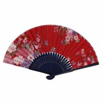 Chinese Style Floral Pattern Summer Folding Hand Fan Red, Pink, Blue, Green R4H8