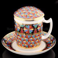 RUSSIAN Imperial Lomonosov Porcelain Mug, Saucer, Lid - Gothic 1. 22k Gold