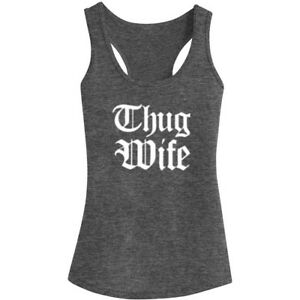 Womens Thug Wife Fitness Workout Racerback Tank Tops