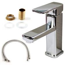 Square Basin Mixer Tap Faucet Chrome Brass Single Handle Bathroom UK Top
