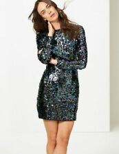 New M&S Collection Black Sequin Sparkly Long Sleeve Dress Sz UK 10