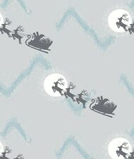 SANTA'S SLEIGH ON SILVER BY LEWIS & IRENE - COTTON FABRIC FQ