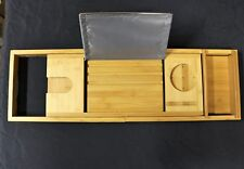 Langria Bamboo Bathtub Caddy Tray With Extending Sides Mug/Wineglass/Smartphone