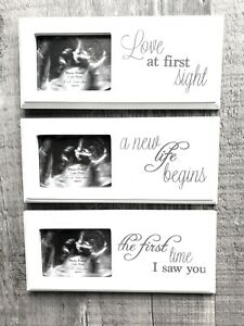 Wooden Baby Scan Ultrasound Photo Frame White Plaque Baby Shower Gift First Scan