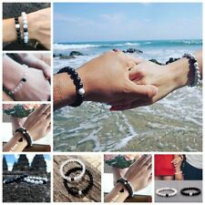 2Pcs Distance Bracelets Lovers Couples Matching Gifts Matte Agate 8mm Bead Stone