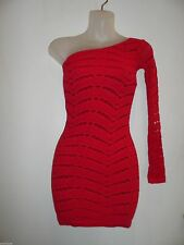 bebe  P/S Allover Slash Dress Bright Red Bodycon One Shoulder Lace Cocktail Club