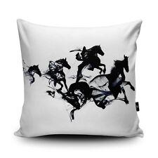 Black Ink Horses Vegan Cushion Cover and Inner 45cm Printed Design Robert Farkas