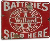 """""""Willard Batteries"""" Oil Gas Metal Parts Service Auto Shop Garage Sign"""