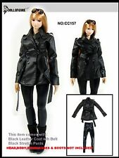 CC157 1/6 Clothing-Black Leather Coat & Stretch Pants @HOT TOYS,CY COOL GIRL