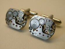 MENS CUFFLINKS NEW STEAMPUNK VINTAGE 16mm LUCH WATCH MOVEMENT MEN'S GIFT UNIQUE
