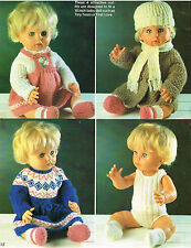 """Dolls clothes knitting pattern for 16"""" doll..Laminated copy. (V Doll 157)"""