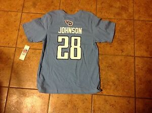 Tennessee Titans Chris Johnson Youth Xl Fits Size 16/18 T-Shirt New With Tags