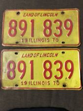 Vintage Pair of 1970 IL Land of Lincoln used auto plates/tags