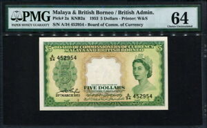 Malaya & British Borneo 1953, 5 Dollars, P2a, PMG 64 UNC