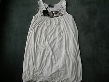 AX Paris Ladies Cream Bubble Dress with Metallic Decor Sleeveless Size 12 NEW