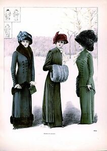 Three Ladies wearing great outfits Edwardian Fashion Art Print A4 home decor