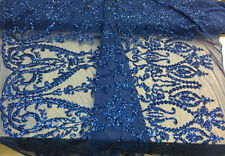 Supreme Design Mesh Lace Bridal Wedding Sequins royals blue. Sold By The Yard